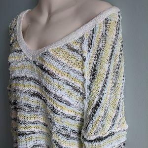 Free people v neck slub crochet sweater
